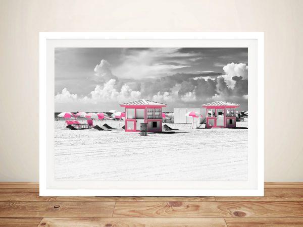 Buy Pink Beach Houses Framed Canvas Art