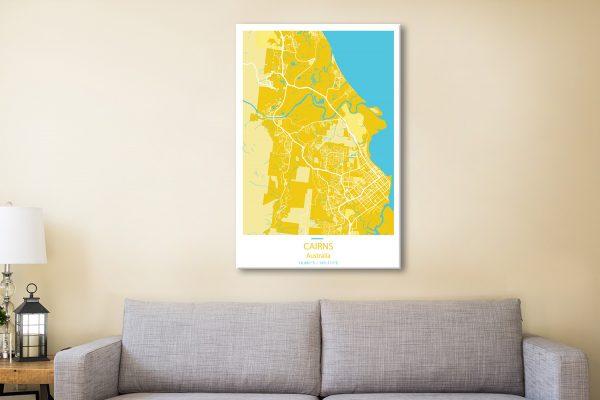Cairns City Street Map Yellow Canvas Artwork