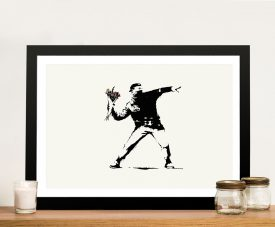 Banksy Flower Thrower Framed Print on Canvas