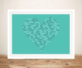 Heart Typographic Art Gift Idea Online