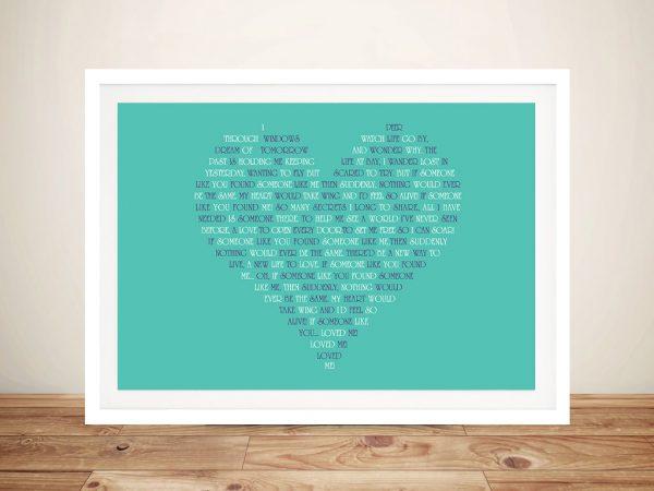Heart Typographic Art Gift Idea Online
