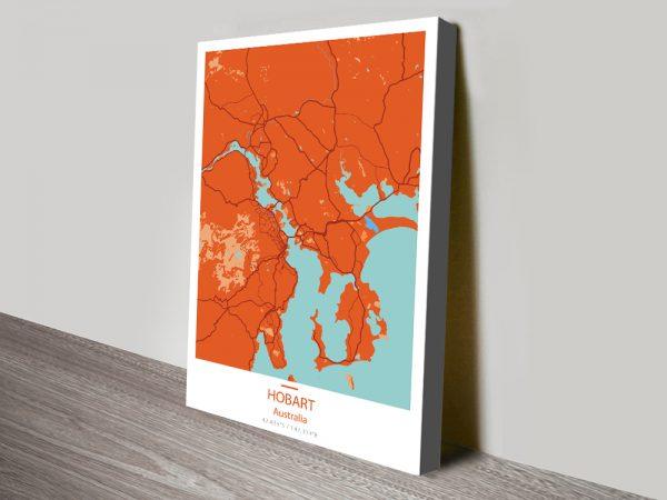 Hobart City Map Orange Canvas Print