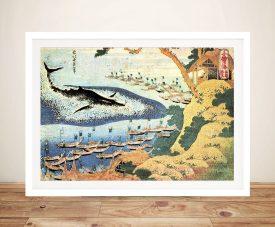 Ocean Landscape & Whale Hokusai Framed Print