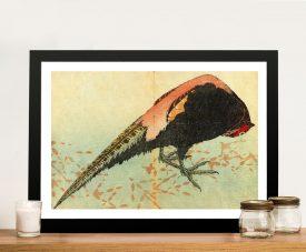 Pheasant on the Snow Hokusai Framed Artwork