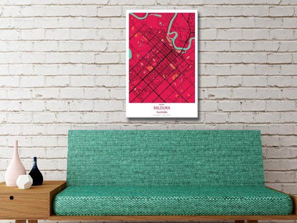 Mildura City Lines Map Canvas Artwork