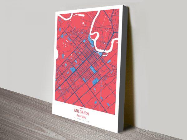 Mildura City Lines Map Canvas Prints Australia
