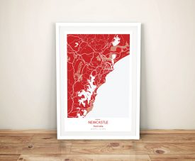 Newcastle Street Map Red Framed Wall Art