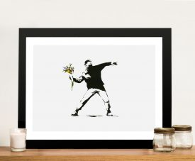 Buy Banksy flower thrower Framed Wall Art