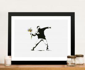 Buy Banksy flower thrower Framed Wall Art