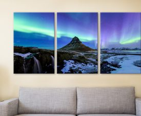 Aurora Borealis Triptych Canvas Wall Art Set
