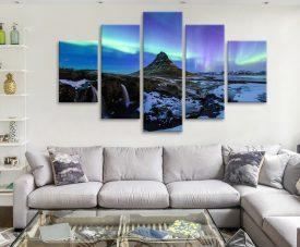Aurora Northern Lights 5 Panel Canvas Artwork