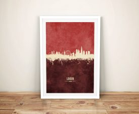 Buy A Print of London Skyline in Two-Tone Red