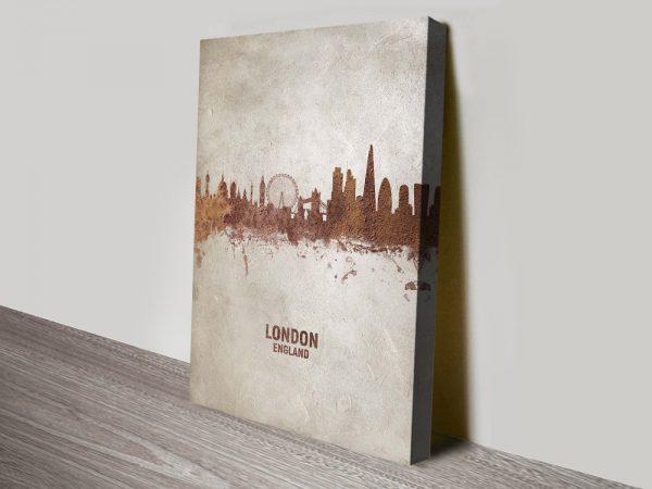 Buy London Skyline in Rust Cheap Wall Art AU