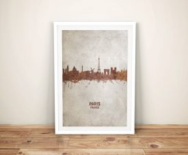 Paris Rust Watercolour Skyline Framed Wall Art