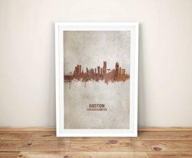 Buy Boston Skyline Framed Canvas Wall Art