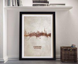 Buy Hamburg Rust Skyline Framed Canvas Art