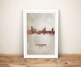 Birmingham Watercolour Skyline Framed Artwork
