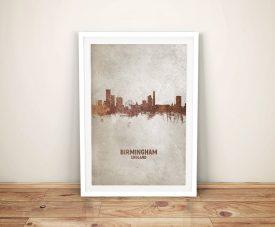 Birmingham Watercolour Skyline Framed Artwork