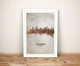 Vancouver Rust Skyline Watercolour Framed Art