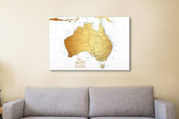 Custom Australia Gold Map Canvas Artwork