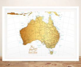 Australia White & Gold Push Pin Map Wall Art Print with Push Pins