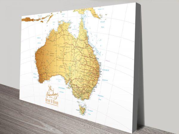 Australia White & Gold Push Pin Map Canvas Print
