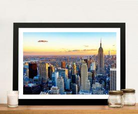 Buy New York Sunset Framed Canvas Wall Art