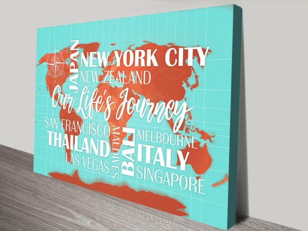 Custom Turquoise and Orange Word Map with Push Pins