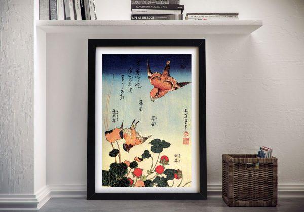 Wild Strawberries & Birds Hokusai Framed Art