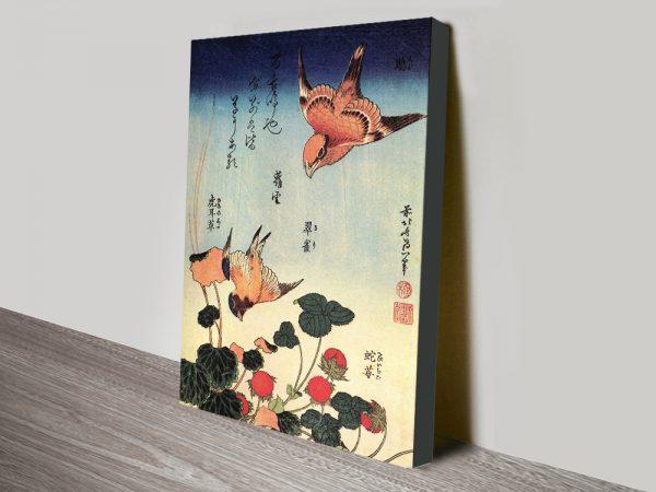 Wild Strawberries & Birds Charming Hokusai Wall Art