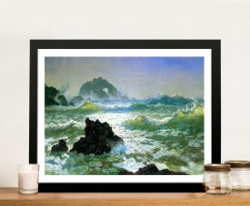 Buy Seal Rock Seascape Framed Art by Bierstadt