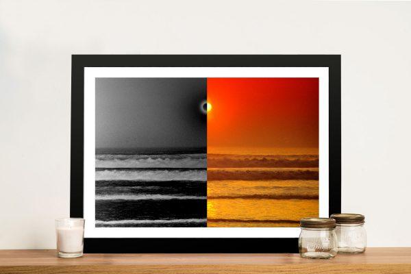Sunset Reflections Split Ocean Sunset Art
