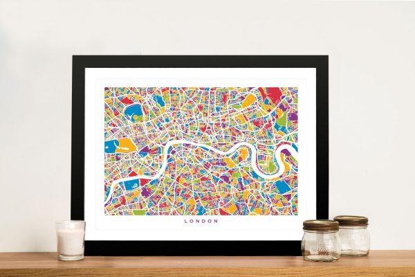 Buy Colourful London Street Map Wall Art