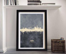 Buy Framed Artwork of London's Skyline in Grey