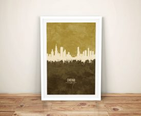 Buy a Print of Chicago's Skyline in Two-Tone Tan