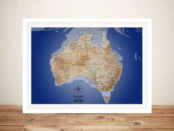 Australia Sea Blue Push Pin Map Wall Art