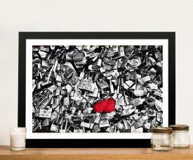 Buy a Framed Canvas Print of Paris Love Padlock