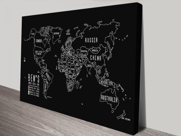 Personalised Chalkboard World Map Canvas Print