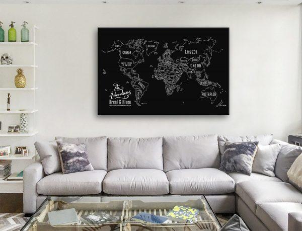 Personalised Chalkboard World Map Canvas Art Australia