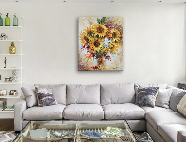 Sunflowers of Happiness by Leonid Afremov Floral Wall Art Prints Brisbane