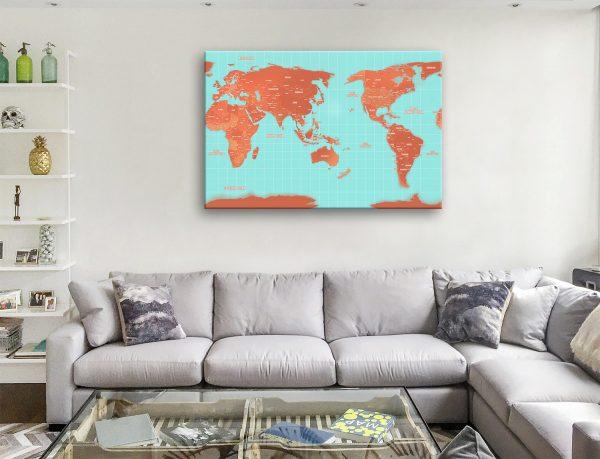 Custom Australia Centric Orange Map Canvas Artwork