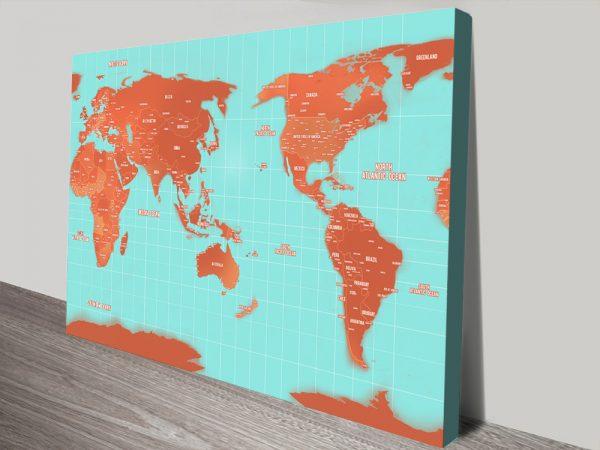 Australia Centred Personalised Travel Map Art Print