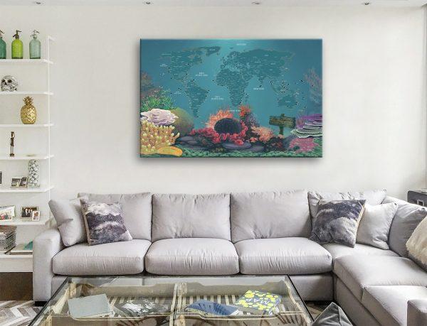 Custom Diving Spot Map Canvas Artwork Gift