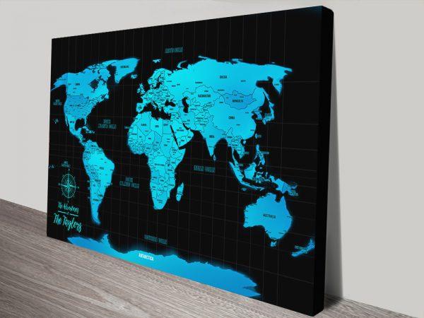 Electric Blue Travel Map canvas print
