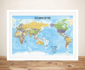 Pacific Centred Framed Map Gift