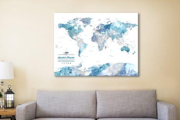 Blue Watercolour Push Pin World Map Canvas Print