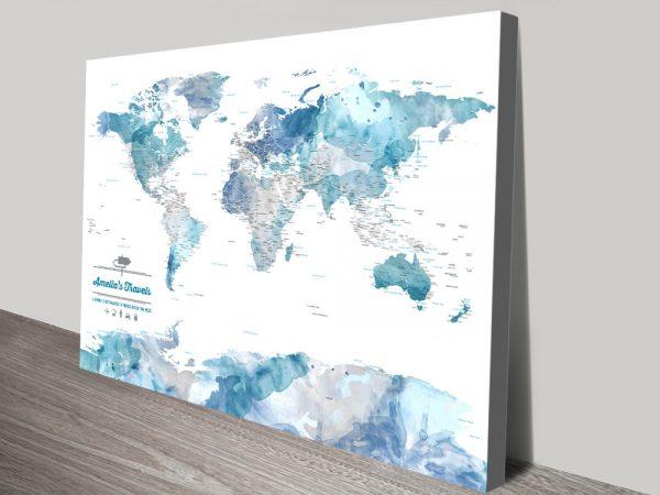 Blue Watercolour Push Pin World Map Gift