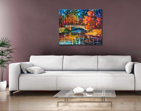 Buy Flowing Under the Bridge Colourful Canvas Artwork