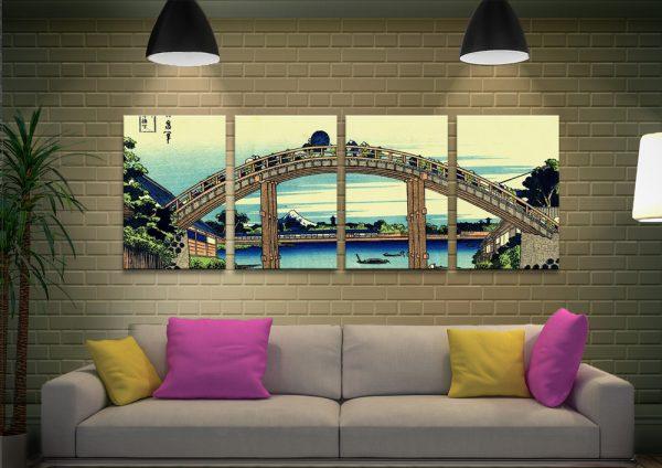Hokusai Fuji seen through the Mannen-bridge 4 piece canvas artwork