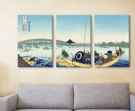 Buy Sunset Through the Ryogoku Bridge Triptych
